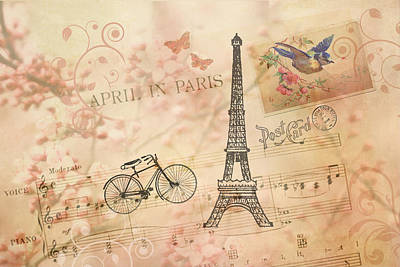 Vintage Bicycle And Eiffel Tower Poster by Peggy Collins