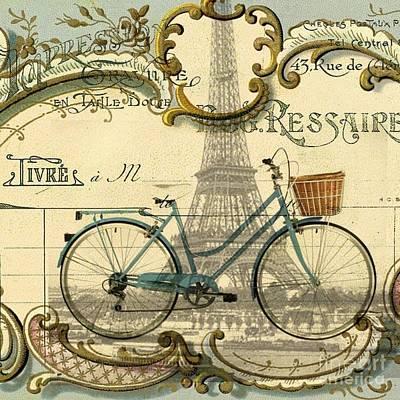 Vintage Bike Art Paris Eiffel Tower  Poster