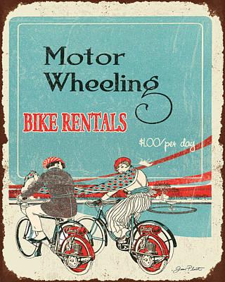 Vintage Bike Rental Sign Poster by Jean Plout