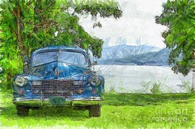 Vintage Blue Caddy At Lake George New York Poster by Edward Fielding