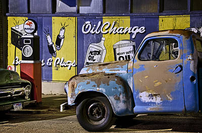 Vintage Blue Pickup And Gas Station Near Bisbee Az Poster by Dave Dilli