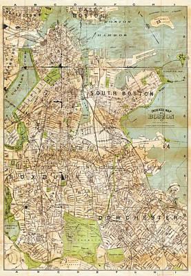 Vintage Boston Map  Poster by Joann Vitali