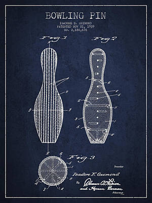 Vintage Bowling Pin Patent Drawing From 1939 Poster by Aged Pixel