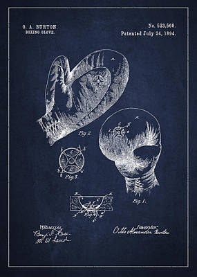 Vintage Boxing Glove Patent Drawing From 1894 Poster by Aged Pixel