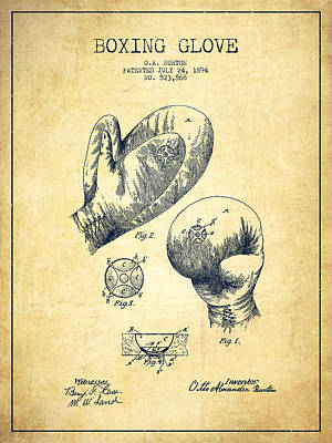Vintage Boxing Glove Patent Drawing From 1894 - Vintage Poster by Aged Pixel