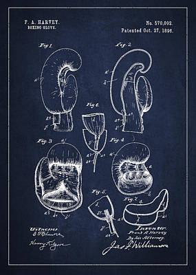 Vintage Boxing Glove Patent Drawing From 1896 Poster by Aged Pixel