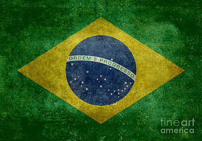 Vintage Brazilian National Flag Poster by Bruce Stanfield