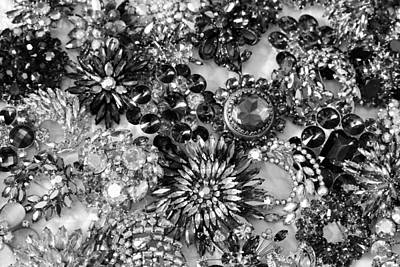 Vintage Brooches Black And White II Poster