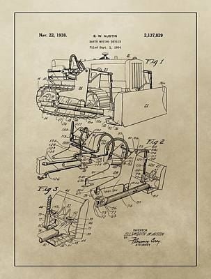 Vintage Bulldozer Patent Poster by Dan Sproul