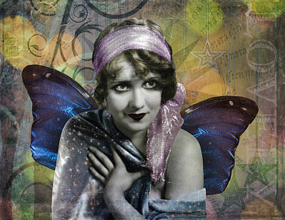 Vintage Butterfly Woman Poster