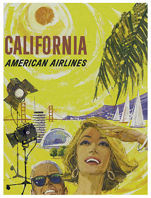 Vintage California Travel Poster Poster by Joy McKenzie