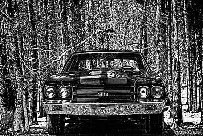 Vintage Car Art Chevelle Ss Woodcut Poster