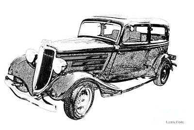 Vintage Car Art Ford-bw Pencil Sketch Poster