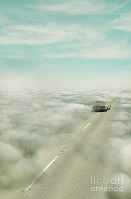 Vintage Car Driving Into Clouds Poster by Jill Battaglia