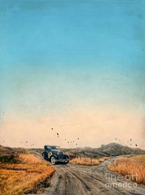 Vintage Car On Dirt Road Poster by Jill Battaglia