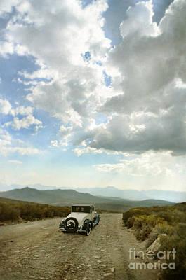 Vintage Car On Mountain Road Poster by Jill Battaglia