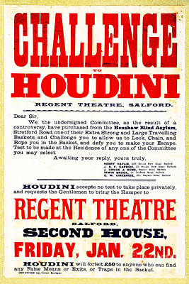Vintage Challenge Houdini Poster Poster by Wingsdomain Art and Photography