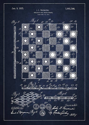 Vintage Checker And Chess Board Drawing From 1921 Poster