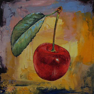 Vintage Cherry Poster by Michael Creese