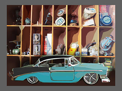 Vintage Chevy Belair With Retro Auto Parts Poster