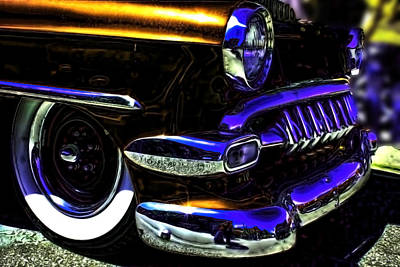 Vintage Chevy Grill  Toothy Chrome Copper Poster by Lesa Fine