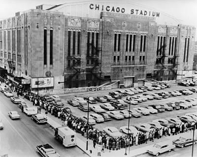 Vintage Chicago Stadium Print - Historical Blackhawks Black  White Poster