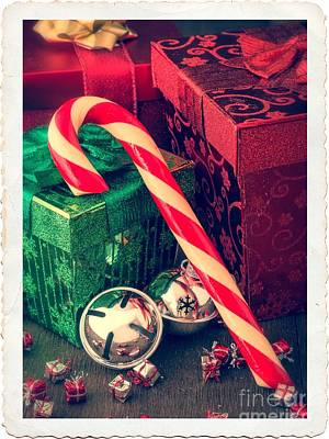Vintage Christmas Candy Cane Poster by Edward Fielding