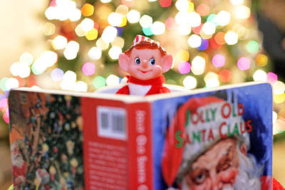 Poster featuring the photograph Vintage Christmas Elf Reading A Book by Barbara West