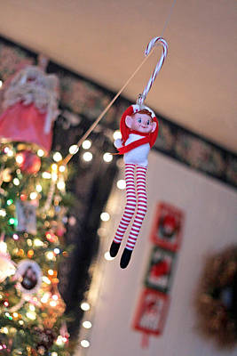 Poster featuring the photograph Vintage Christmas Elf Zipline by Barbara West