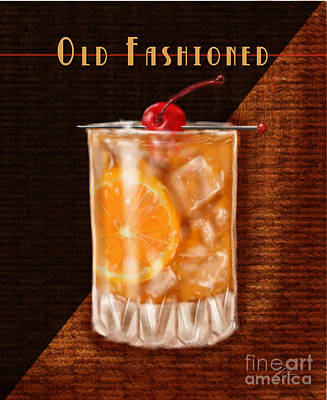 Vintage Cocktails-old Fashioned Poster by Shari Warren