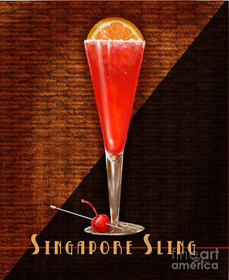 Vintage Cocktails-singapore Sling Poster by Shari Warren