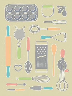 Vintage Cooking Utensils With Pastel Colors Poster by Mitch Frey