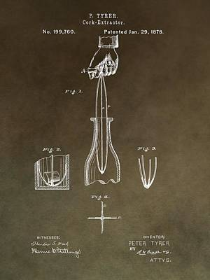 Vintage Cork Extractor Patent Poster by Dan Sproul