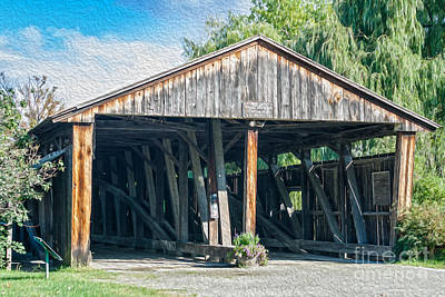 Vintage Covered Bridge In Usa Poster by Patricia Hofmeester