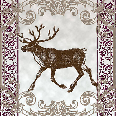 Vintage Deer Artowrk Poster by Art World