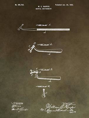 Vintage Dental Instrument Patent Poster by Dan Sproul