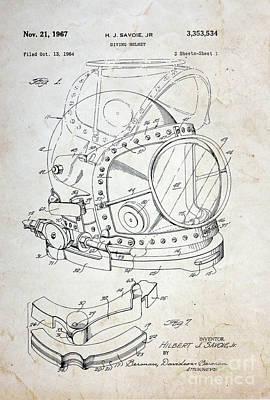 Vintage Dive Helmet Blueprint Poster by Paul Ward