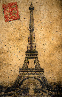 Vintage Eiffel Tower 3 Poster by Andrew Fare