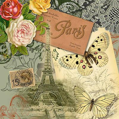 Vintage Eiffel Tower Paris France Collage Poster