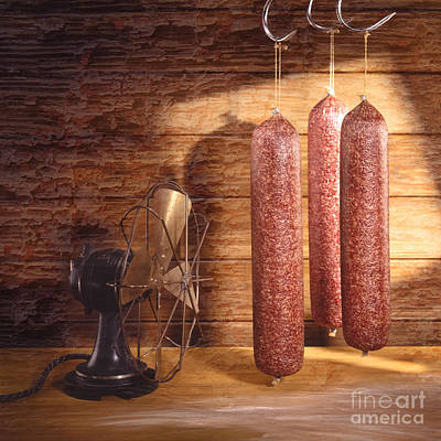 Vintage Fan With Sausages Poster