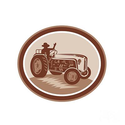 Vintage Farm Tractor Driver Waving Circle Retro Poster by Aloysius Patrimonio