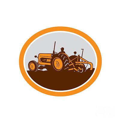 Vintage Farm Tractor Farmer Plowing Oval Retro Poster by Aloysius Patrimonio