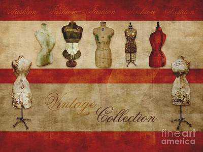 Vintage Fashion Mannequins - 02t Poster by Variance Collections