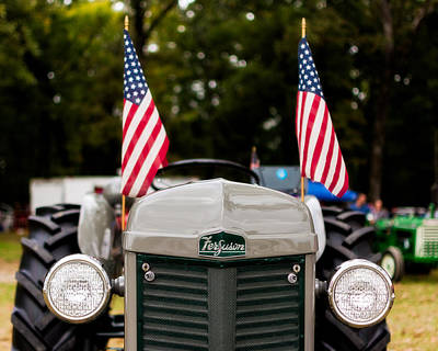 Vintage Ferguson Tractor With American Flags Poster by Jon Woodhams