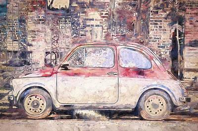 Vintage Fiat 500 Poster
