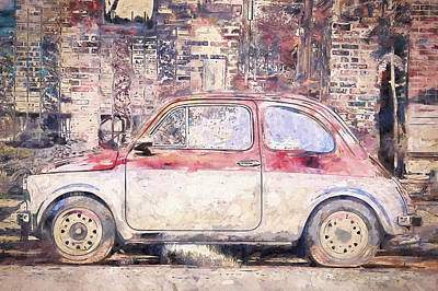 Vintage Fiat 500 Poster by Scott Norris