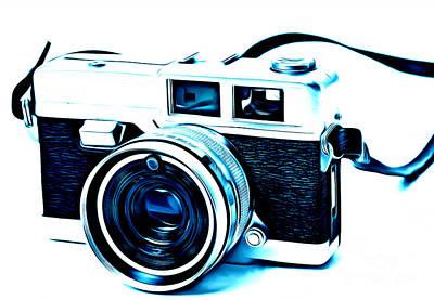 Vintage Film Slr Camera Blue Poster