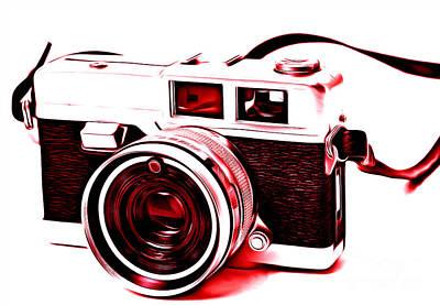 Vintage Film Slr Camera Red Poster