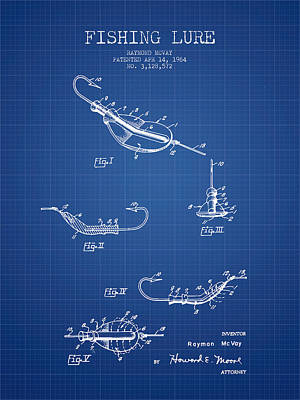 Vintage Fishing Lure Patent From 1964 - Blueprint Poster