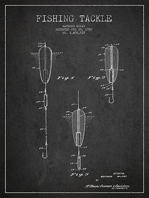 Vintage Fishing Tackle Patent Drawing From 1950 Poster